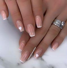 Acrylic Nail Designs Glitter, Manicure Nail Designs, Gel Nail Art Designs, Square Acrylic Nails, Romantic Nails, Elegant Nails, Stylish Nails, Trendy Nails, Fancy Nail Art