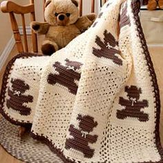 Teddy Bear Block Blanket designed by Kim Biddix for Caron International ~ I love…