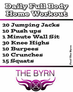 Check Out This Great Daily Full Body Home Workout