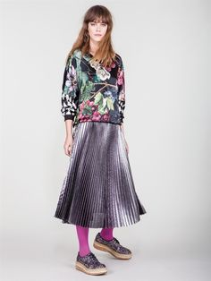 "Naughty Dog FW1617 ""Harvest print"" sweater and metallic plissé skirt"