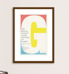 All glory comes from daring to beginEugene F. The Office, Dares, Posters, Frame, Etsy, Picture Frame, Poster, Frames, Billboard