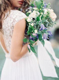 Natural bridal inspiration under a waterfall