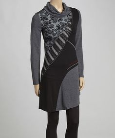 Another great find on #zulily! Black & Gray Patchwork Cowl Neck Tunic #zulilyfinds