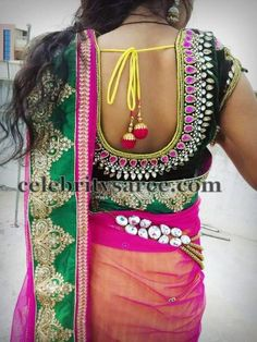 Velvet blouse with Pink Stones | Saree Blouse Patterns