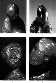 Facial details of several Grimaldi figurines:     1 - 'Yellow steatite statuette' (coll. MAN, photo S. Brimberg / National Geographic)   2 - the 'Losange' (coll. MAN, photo S. Brimberg / National Geographic)   3, 4 - the 'Double figure' (coll. Bolduc, photo R White).     Source: White et Bisson (1998)