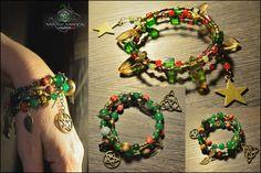 """Nouvelle Créa: Marie Wicca. Série """" Wiccan jewelry """"  Beau Bracelet """"wicca Magesty"""".  DIM: Approximativement 36cm Bracelet enroulant.  Origine Pierre: Divers Fait main.  Matières: Perles cristal de swarovski,Agate rouge,Agate veines de dragon,Jaspe,Jade vert,perles de verre,perles de laiton et alliages. Ref:0205"""