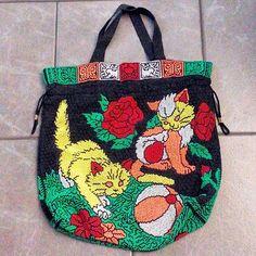 Vintage 70s beaded kitten floral drawstring tote bag, new old stock, unused.