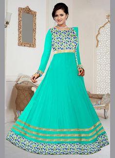 Integral Embroidered Work Sea Green Georgette Anarkali Salwar Kameez