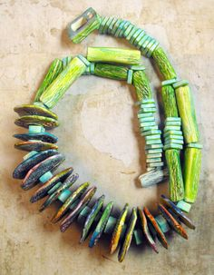 The Green NecklaceHandmadeOne of a kind by mara3121 on Etsy, $89.00...inventive use of materials
