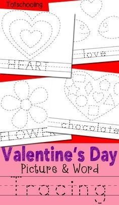 Valentine's Day Picture & Word Tracing Printables FREE Valentine's Day tracing worksheets featuring words and pictures. Children can trace a word, then trace and color the picture. Great for handwriting and fine motor skills! Valentine Words, Valentines Day Pictures, Valentine Theme, Valentine Day Crafts, Printable Valentine, Homemade Valentines, Saint Valentine, Valentine Wreath, Valentine Box