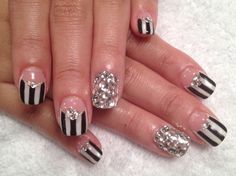 Reverse French with strips, accent bijou nail art!