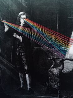 Newton and the Color Spectrum   Hand stitched on paper 2015