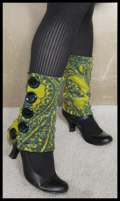 Legwarmers with a vintage modern twist! Interesting...i like the idea, not sure about the fabric on these.