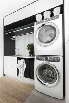 Small Laundry Room Ideas Stackable Washer Dryer If you are looking for Small laundry room ideas stackable washer dryer you've come to the right place. We have collect images about Small laundry room. Laundry Dryer, Laundry Closet, Laundry Room Organization, Küchen Design, Home Design, Design Ideas, Layout Design, Stackable Washer And Dryer, Stacked Washer Dryer