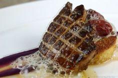 Seared Foie Gras with French Toast, Salted Grapes, Vanilla-Maple Espuma, Ice Wine Gastrique, Purple Sweet Potato Puree