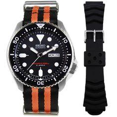 SKX007J1 Seiko Divers Watch Seiko Automatic Watches, Seiko Watches, Authentic Watches, Seiko Diver, Selection, Black Boys, Watches Online, Stainless Steel Case, Chronograph