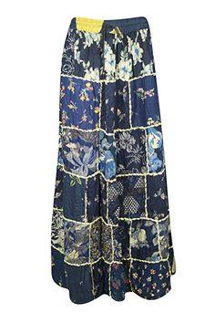 888c10b7ec Mogul Interior Women Maxi Skirt Sky Blue Vintage Printed Patchwork Rayon  Skirts S/M: Amazon.co.uk: Clothing