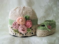 Hand Knitted Baby Girl Hat with Ivory Lace and Miniature Roses - Cotton Cloche - Newborn - Infant - Children Clothing - Rosie Posy
