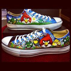Custom Angry Birds Shoes on Global Geek News.