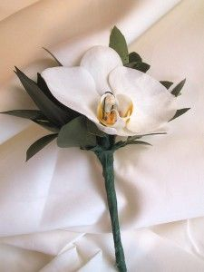 Phalaeanopsis Orchid Boutonniere with eucalyptus accents