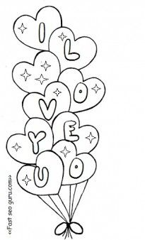 Free printable valentine heart balloons coloring pages for kids.free online valentines day ideas activites worksheet for kids.valentines day clipart black and white.