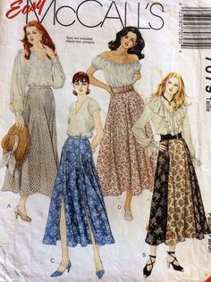 1990s flared gored skirts McCalls 7079 sewing pattern Sizes 16 18 & 20 Waist 30 - 32 - 34 Retro 90s boho hippie semi-circular skirt by 101VintagePatterns on Etsy