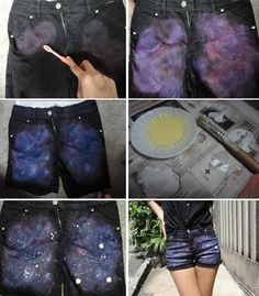 customização de shorts jeans galaxy print