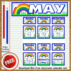 Download a FREE May classroom calendar set to display on your bulletin board.  These free calendar pieces fit perfectly inside pocket charts.  Be sure to download all 12 of the FREE January – December classroom calendars that are available on Unique Teaching Resources.