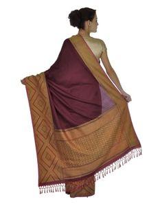 Wine Pure Silk Temple Weave Banarasi Zari Handwoven Saree