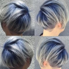 The blue rooted platinum I did the other week. Left side is in direct sun, right indirect. Not much different but I love how much the blue shows up in the sun. But it's still not overly vivid. #bluehair #haircolor #platinum #blonde #platinumhair #shorthair #haircolor #dyedhair #instamatic #coloredhair #hairgoals #follow