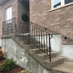 Custom forged wrought iron landing, stair railing #wroughtironwork #wallmountedhandrail
