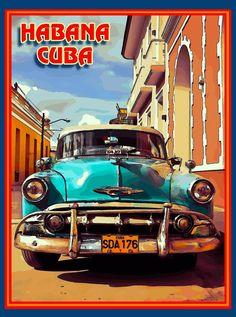 Cuba Cuban Havana Island Caribbean Taxi Cab Retro Travel Home Collectible Wall Decor Art Poster Print. Measures 10 x inches Cuba Cuban Havana Island Caribbean Taxi Cab Retro Travel Home Collectible Wall Decor Art Poster Prin Cuba Vintage, Photo Vintage, Vintage Ads, Poster Cars, Poster Poster, Movie Posters, Cuba Island, Arte Latina, Cuban Art