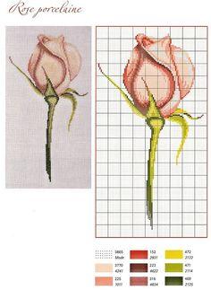0 point de croix grille et couleurs de fils rose rose