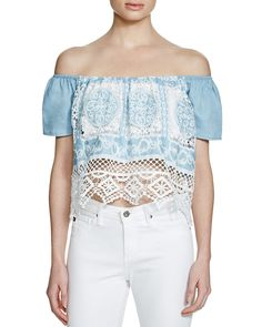 Lucy Paris Off-The-Shoulder Chambray Top - Bloomingdale's Exclusive