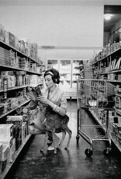 """""""Audrey Hepburn shopping with her pet deer """"Ip"""" in Beverly Hills, CA, 1958."""""""