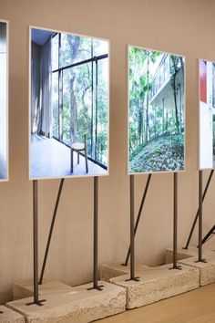 Display Easel With Light Stands In Showroom By Assemble Studio Lightweight Aluminum Telescoping Black – curvehe. Exhibition Display, Exhibition Space, Exhibition Stands, Stand Design, Display Design, Booth Design, Design Design, Graphic Design, Exposition Photo