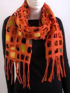 Felted shawl. Felted scarf. Orange. Lattice scarf. by Lianafelt