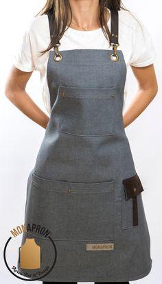 Work Aprons, Cute Aprons, Sewing Clothes, Diy Clothes, Restaurant Uniforms, Leather Apron, Bib Apron, Linen Apron, Apron Designs