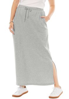 Woman Within Plus Size Petite Sport Knit Side-slit Skirt Plus Size Dresses, Plus Size Outfits, Modest Dresses Casual, Sports Skirts, Full Length Skirts, Athleisure Fashion, Woman Within, Knit Skirt, Midi Skirt