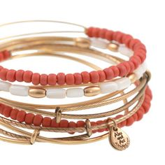 Alex and Ani Bohemian Sea Bead Expandable Wire Bangles Coral Reef