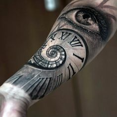 Download Free Realistic Roman Numeral Spiral With Eye Tattoo On Forearm to use and take to your artist.