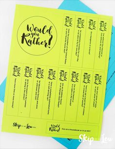 good would you rather questions printable