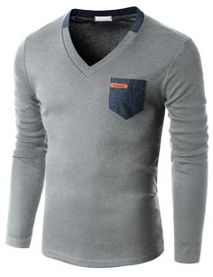 Doublju Men's Long Sleeve V-neck T-shirt with Contrast pocket Stylish Mens Outfits, Cool Outfits, Mens Fashion, Fashion Outfits, Gentleman Style, Mens Clothing Styles, Shirt Style, Men Dress, Men's T Shirts