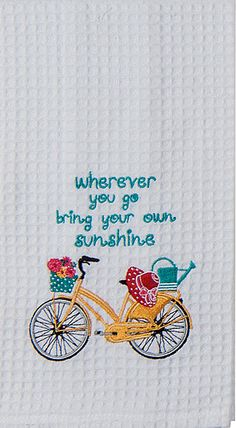 "Vintage Yellow Bike Sunshine Quote Embroidered 100% Cotton Waffle Dish Towel / Tea Towel, 18"" x 28"""