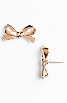 Fashion Earrings Clear Crystal Bows On Gold Tone Metal Posts