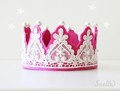 Creamy Lace on Hot pink Felt Couture Crown with pearls Party Girls