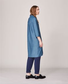 Women's Chambray Twill Linen Cotton Workers Shirt Dress | Toast
