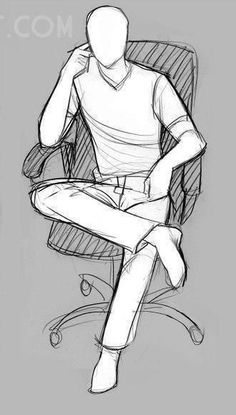 Pose de pessoa sentada de perna cruzada (referência) #ChairDrawing