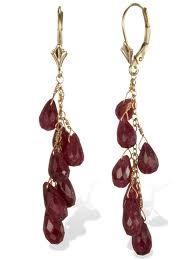 Ruby briolette drop earrings in yellow gold. Ruby Earrings, Gemstone Earrings, Dangle Earrings, Hanging Earrings, Ruby Gemstone, Ear Piercings, Dangles, Fine Jewelry, Gemstones