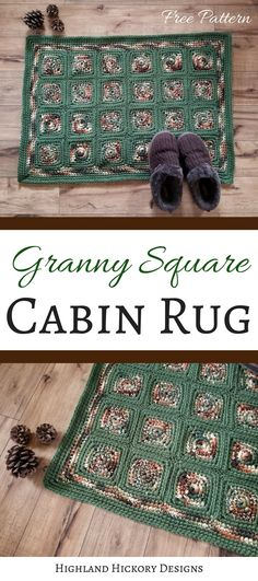 Crochet the Granny Square Cabin Rug for your home or cabin! This is an easy free pattern and you can customize it to whatever size and color you wish!